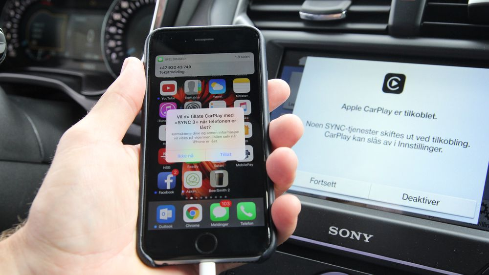 Apple CarPlay koblet opp mot Sync 3 i en Ford Mondeo