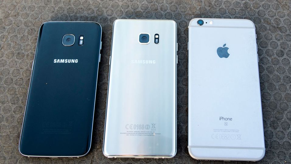Fra venstre: Samsung Galaxy S7 Edge, Galaxy Note 7 og Apple iPhone 6S Plus.