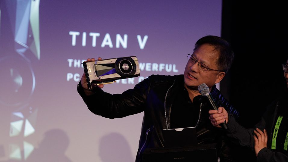 Nvidias toppsjef Jensen Huang lanserte Titan V på NIPS (Conference and Workshop on Neural Information Processing Systems) i Long Beach, California.