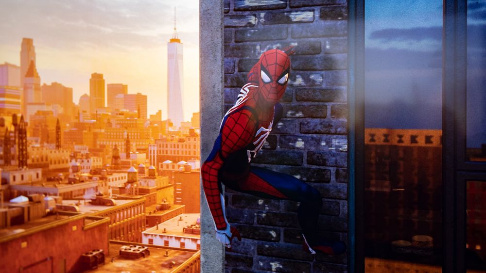Spider-Man kan chille hvor han vil. Her med One World Trade Center i bakgrunnen.