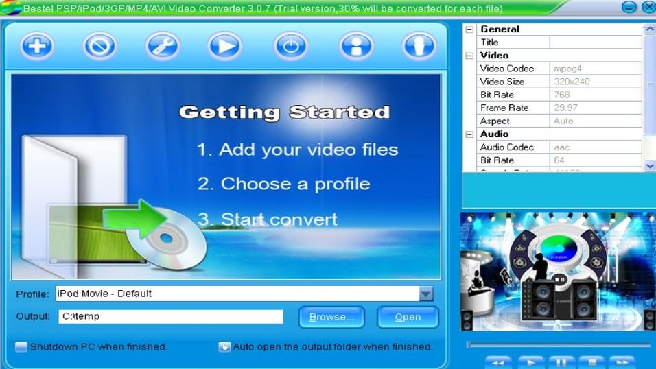 Bestel 3GP/IPod/PSP/MP4 Converter 3.0.9